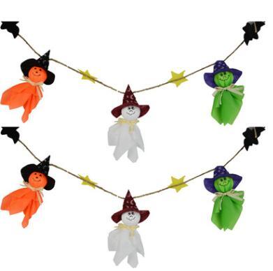 1pcs Creative Halloween Pumpkin Wizard Paper Ghost String Flag
