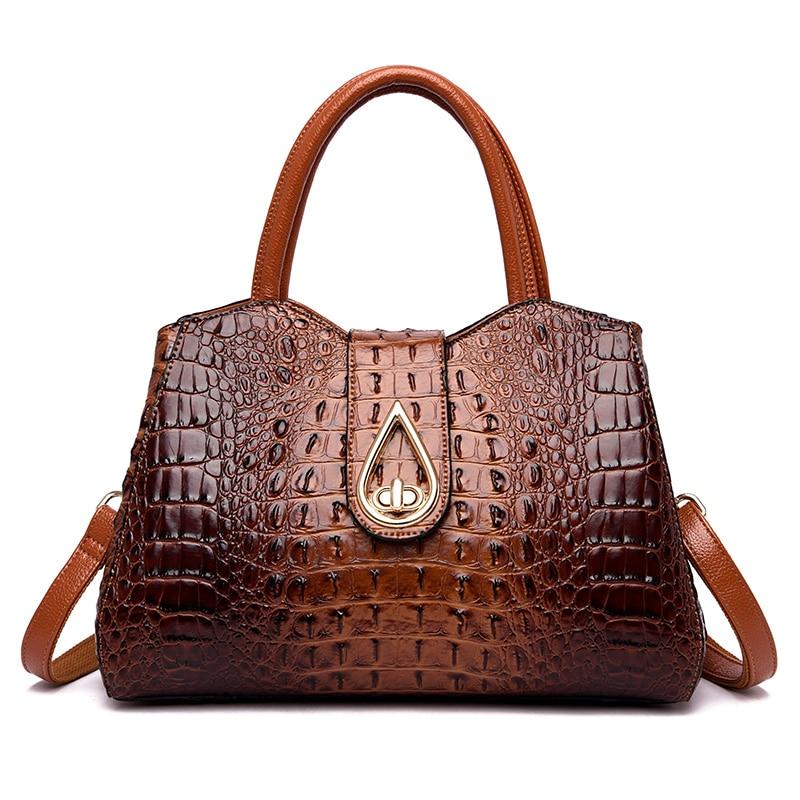 Vintage Fashion Crocodile Genuine Leather Luxury Handbags Women Bags Designer Female Shoulder Bag Ladies Bolsas Feminina