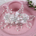 Nupcial de la perla flores Tiaras pelo joyería de la boda accesorios novia bijoux de tete Head Chain Mariage Noiva pernos de pelo