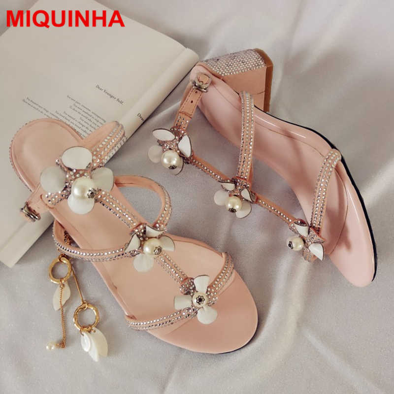 MIQUINHA Open Toe Flower Decor Slingback Women Sandals Med Heel Sandalia Buckle Design Shoes Pearl Embellished Korean Style Shoe  miquinha summer fashion casual shoes women sandalia feminina open round toe buckle strap square heel shoes sexy ladies sandals