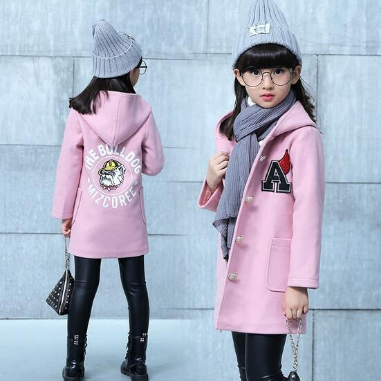 21f225e9b US $38.66 |2017 Children Wool Jacket Autumn Winter Girl Woolen Korean Long  Coat Girls Outwear Buttons Pockets 6 15T Princess Toddler Hooded-in Wool &  ...