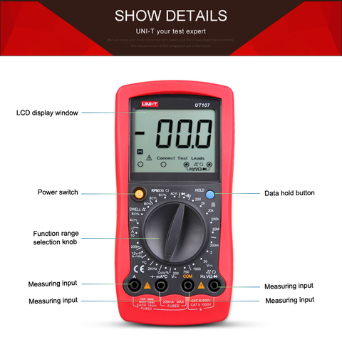 UNI-T UT107 LCD Automotive Handheld Multimeter  AC/DC voltmeter Tester Meters with DWELL,RPM,Battery Check Lahore