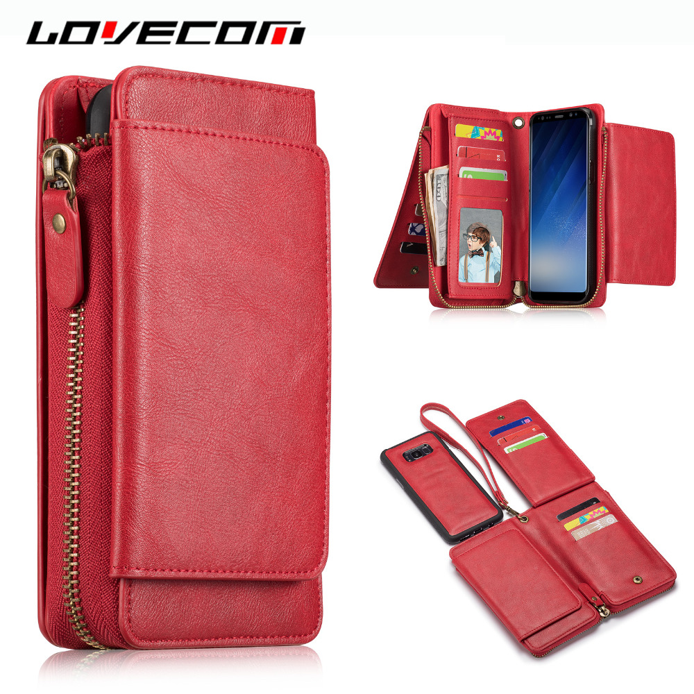 LOVECOM For iPhone 7 6 6S Plus Case Retro Red Soft Leather Zip Card Holder Case Cover Fo ...