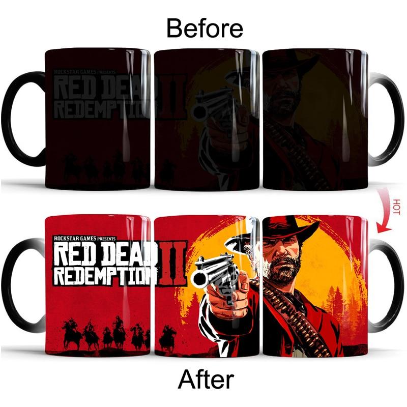 Red Dead Redemption 2 PS4 Coffee Mugs Magic Temperature Heat Sensitive Cup Tea Milk Cups Home Office School Creative Gift