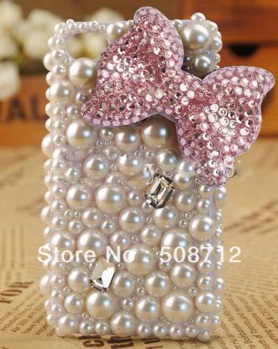 4e4b75da47dd3d DIY cell phone case ------Gem Purple Pink Ribbon Bow DIY Phone Case Shell  Deco Den Kit