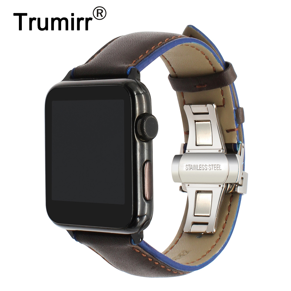 Frankreich Echtem Leder Armband für iWatch Apple Uhr 38mm 40mm 42mm 44mm Serie 1 2 3 4 Dual Farbe Band Schmetterling Spange Band