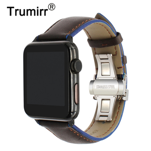 Image 1 - Frankreich Echtem Leder Armband für iWatch Apple Uhr SE 6 54 3 2 1 38mm 40mm 42mm 44mm Dual Farbe Band Schmetterling Spange Band