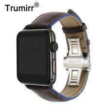 Frankrijk Echt Lederen Horlogeband Voor Iwatch Apple Horloge 38Mm 40Mm 42Mm 44Mm Serie 5 4 3 2 Dual Kleur Band Vlinder Sluiting Strap