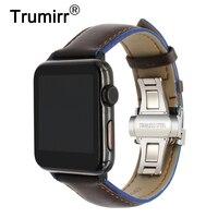 Pháp Da Chính Hãng Watchband cho iWatch Của Apple Xem 38 mét 42 mét Series 1 2 3 Màu Sắc Đôi Ban Nhạc Bướm Buckle Cổ Tay dây đeo