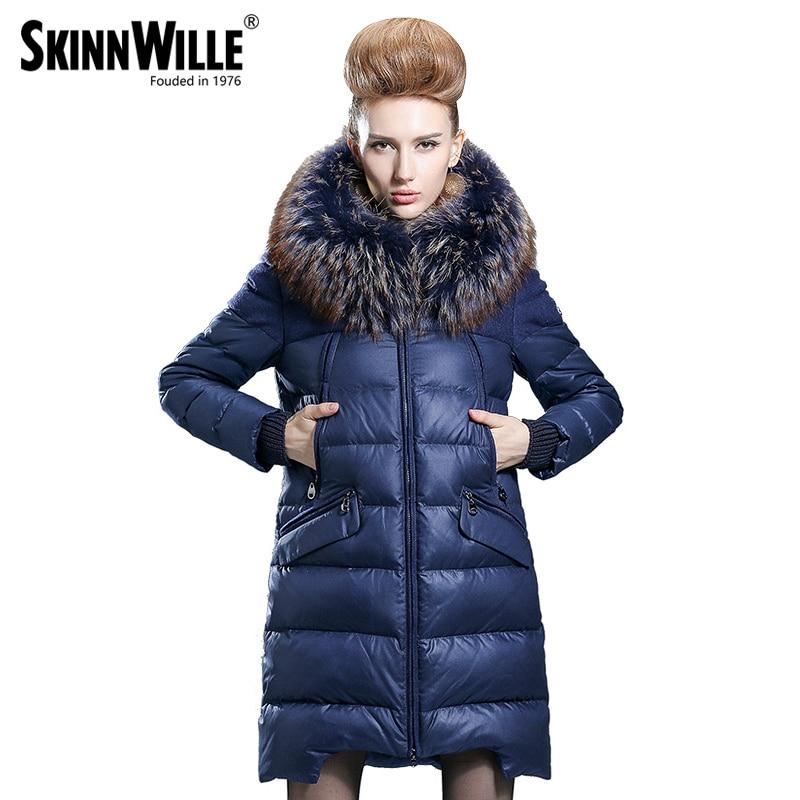 Fêmea de médio-longo para baixo casaco espessamento 2017 moda reta calças soltas outerwear luxuoso