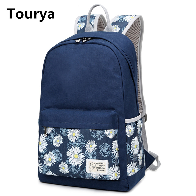 tourya casual bag school backpack floral canvas for teenagers girl school bags women mochila