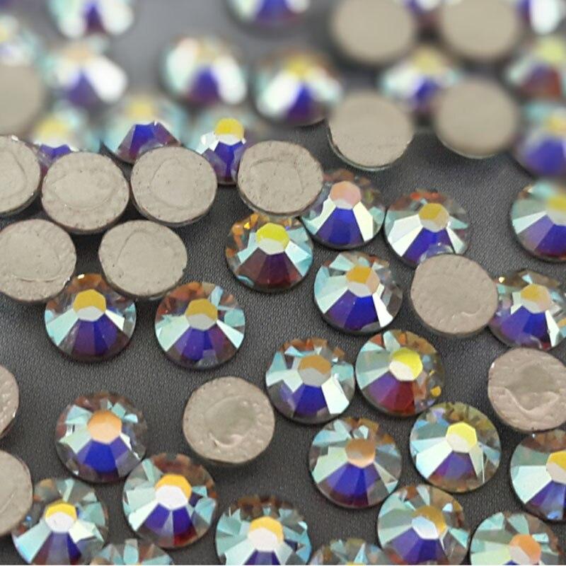 MIOBLET 1 Pack 1000pcs Crystal AB Nail Art Rhinestones DIY Charm Flat Back Non Hotfix 3D Glitter Acrylic Stones Decorations