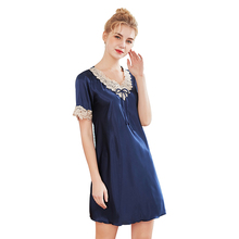 Daeyard Silk Nightgown For Women Embroidery Short Sleeve Shirt Summer Night Dress Sexy Sleepwear Casual Home Clothes Nightie