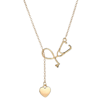 MissCyCy Medical Stethoscope Heart Pendant Necklace Nurse Doctor Gold/Silver Color Gift Fashion Jewelry Bijoux Femme