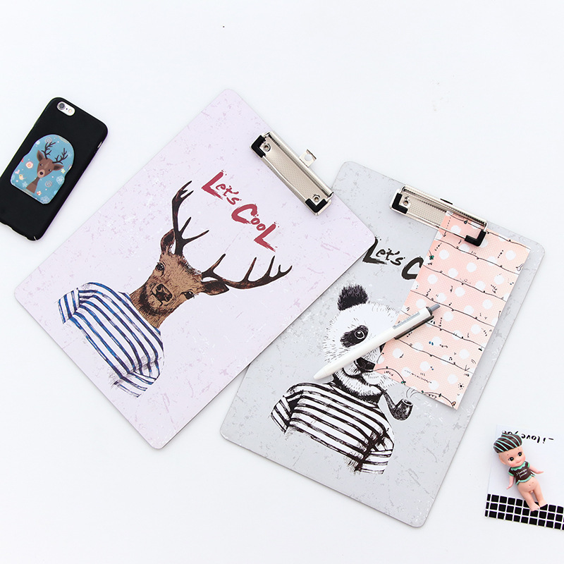 30x21.5cm Originality Lovely Cartoon Woodiness Animal A4 Directly Splint Fashion Sign Clip Contract Mix Basis  Suspension Files