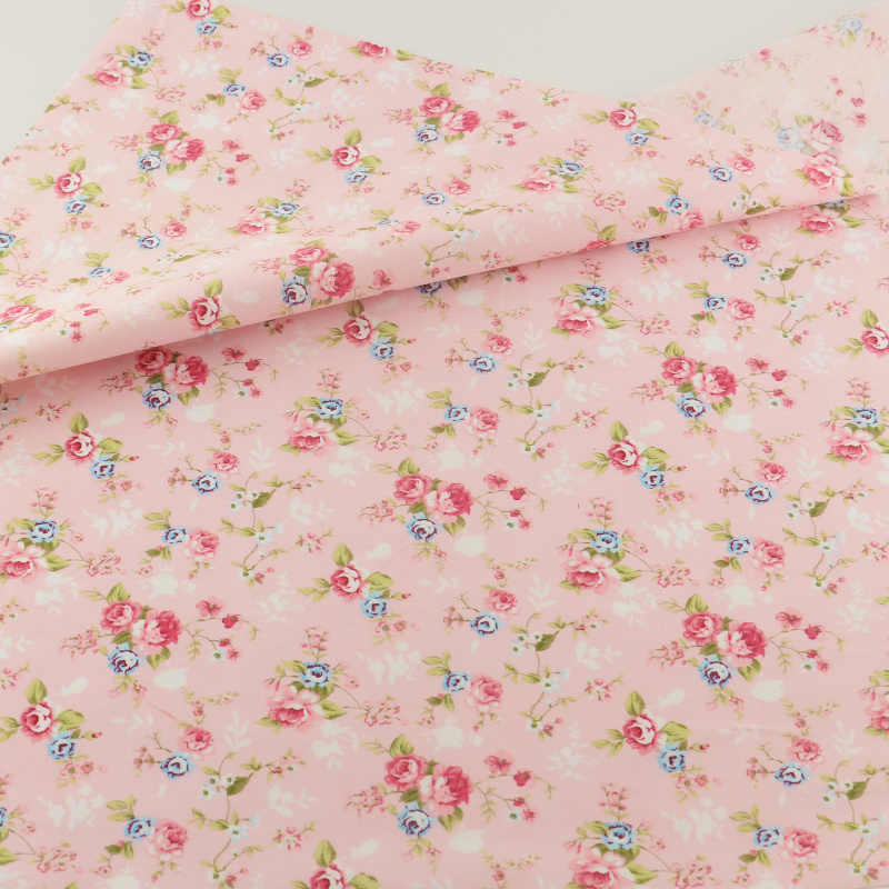 Pink Flower Cotton Fabric Teramila Fabrics Bedding Clothing Patchwork Quilting Sewing Cloth Cover Crafts Home Textile Decoration