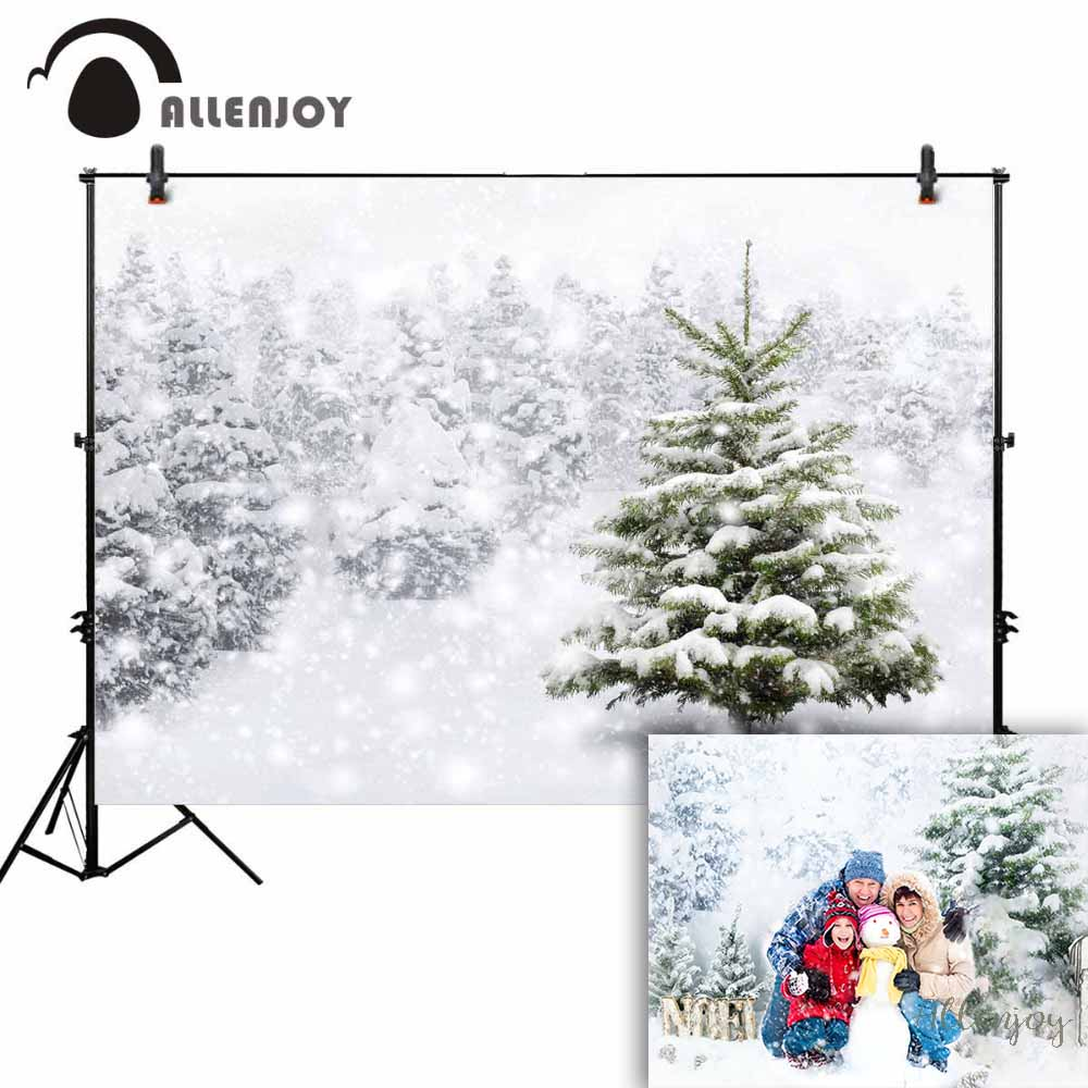 Allenjoy background photography winter snow tree white bokeh Christmas backdrop nature photocall prop customize original design allenjoy photography backdrop snow winter house christmas tree party children new background photocall customize photo printed