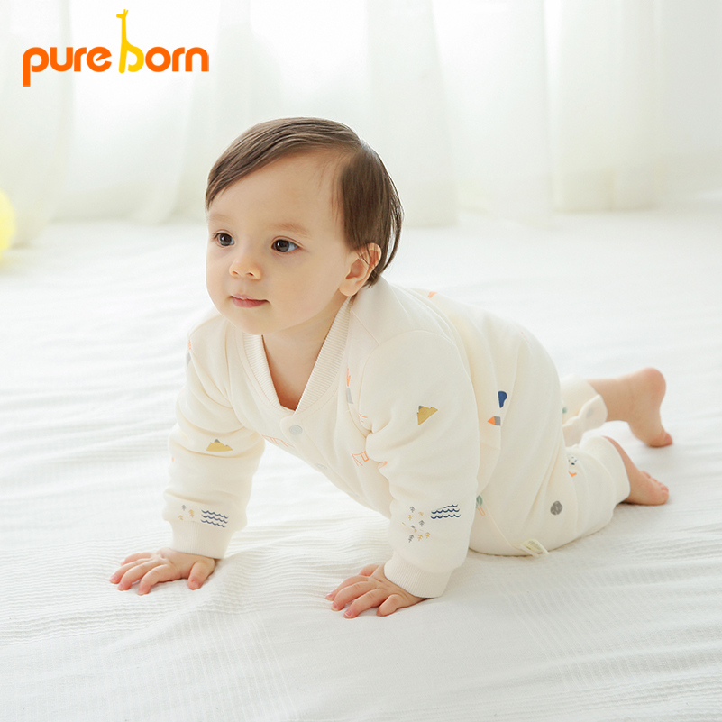 Pureborn Newborns Cute Fashion Jumpsuits Various Printings Baby Boy Girl Clothes Thick Warm Overalls Winter Infant Romper cute animal infant baby girl boy clothes halloween christmas photography costume novelty jumpsuits overalls romper hat shoes