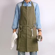 WEEYI Bib Cotton Linen Kitchen Apron With Extra Long Ties 3 Pockets Adjustable Size up to XXL for Men And Women