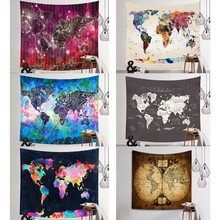 Buy picnic p and get free shipping on aliexpress color world map tapestry printed polyester fabric wall hanging decor picnic blanket mural multicolor beach towel gumiabroncs Images