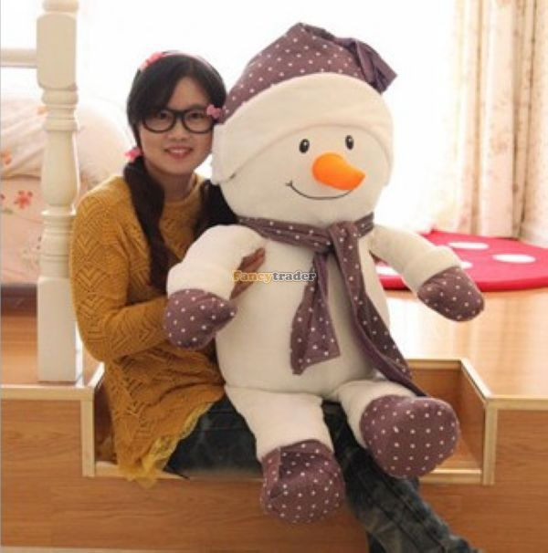 Fancytrader 37'' / 95cm JUMBO Lovely Soft  Plush Stuffed Scarf Snowman Toy, 2 colors Available! Free Shipping FT50181 fancytrader new style giant plush stuffed kids toys lovely rubber duck 39 100cm yellow rubber duck free shipping ft90122