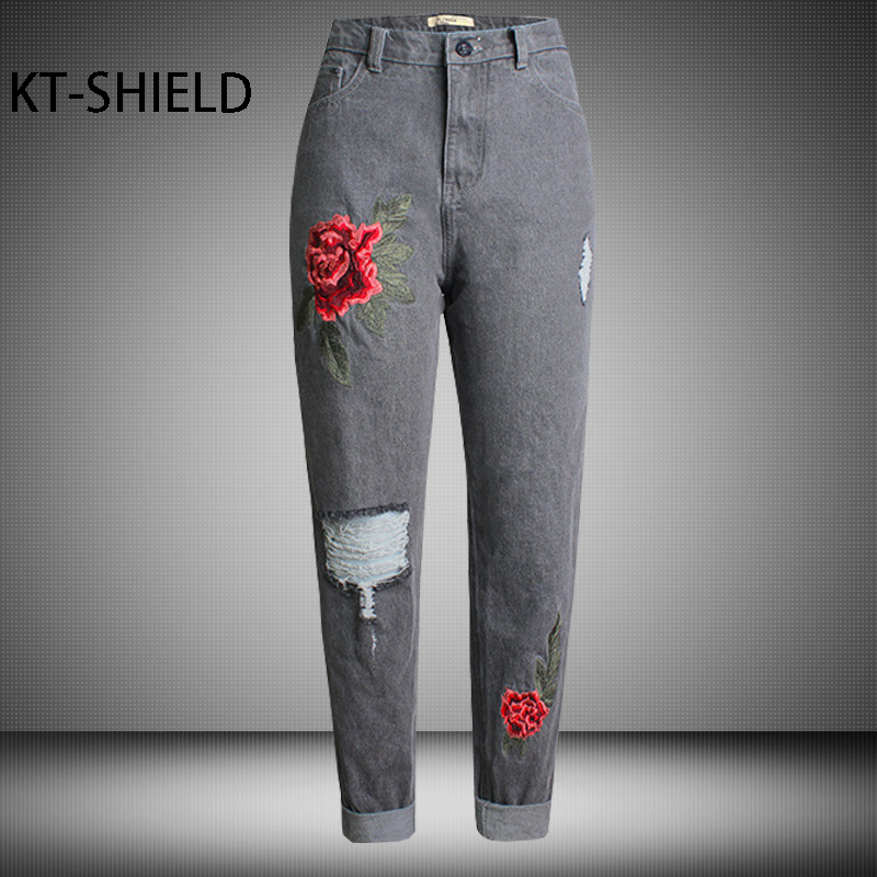 Boyfriend ripped jean women pants High waist embroidered flowers Fashion loose casual full length Denim Straight trousers Female women girls casual vintage wash straight leg denim overall suspender jean trousers pants dark blue