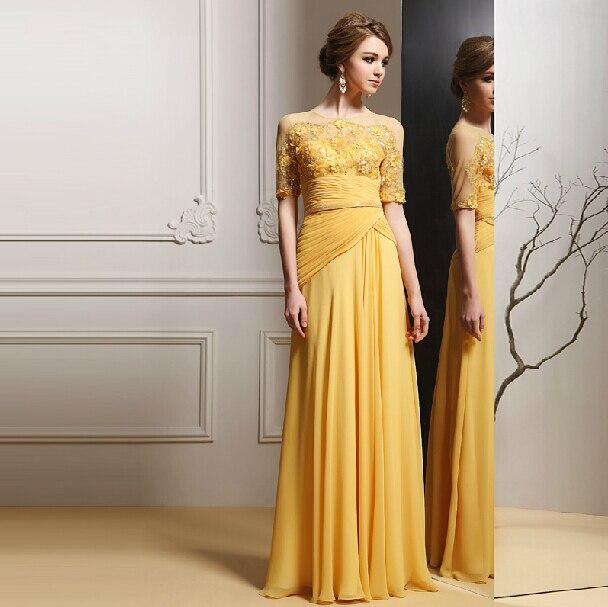 Желтый пляж вечерние платья само вечернее о-образным шею с коротким рукавом блестками и ручной цветок и Pleat пола пром платья