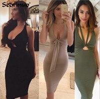 22016 Sexy Women Dress Plunge Deep V Neck Sleeveless Lace Up Bodycon Bandage Dress Midi Clubwear