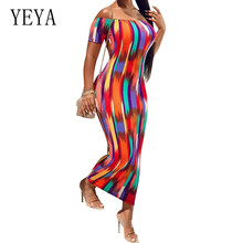 купить YEYA Vintage Printed Slim Maxi Dress Sexy Off Shoulder Open Back Bodycon Pencil Dress Summer Party Retro Female Vestidos дешево