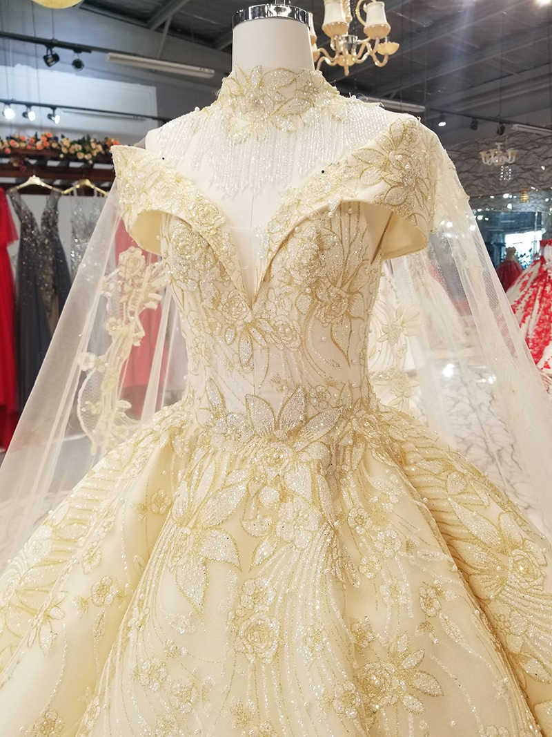 LS9221 querida champagne do vestido de casamento com colar de rendas fora do ombro vestido de noiva com rendas de ouro flores capa e gargantilha