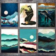 Абстрактный Пейзаж Горный Кит Девушка Wall Art Холст Картины Nordic Плакаты И Отпечатки Настенные