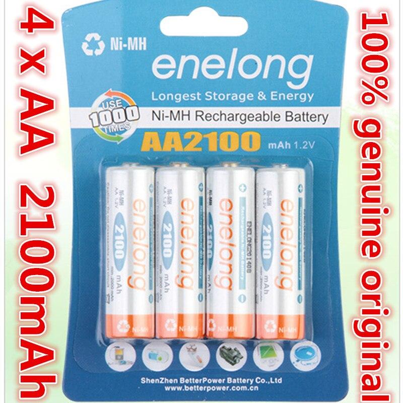 4pcs/lot Original AA 1.2V 2100mAh For Enelong Rechargeable AA Ni-MH Battery