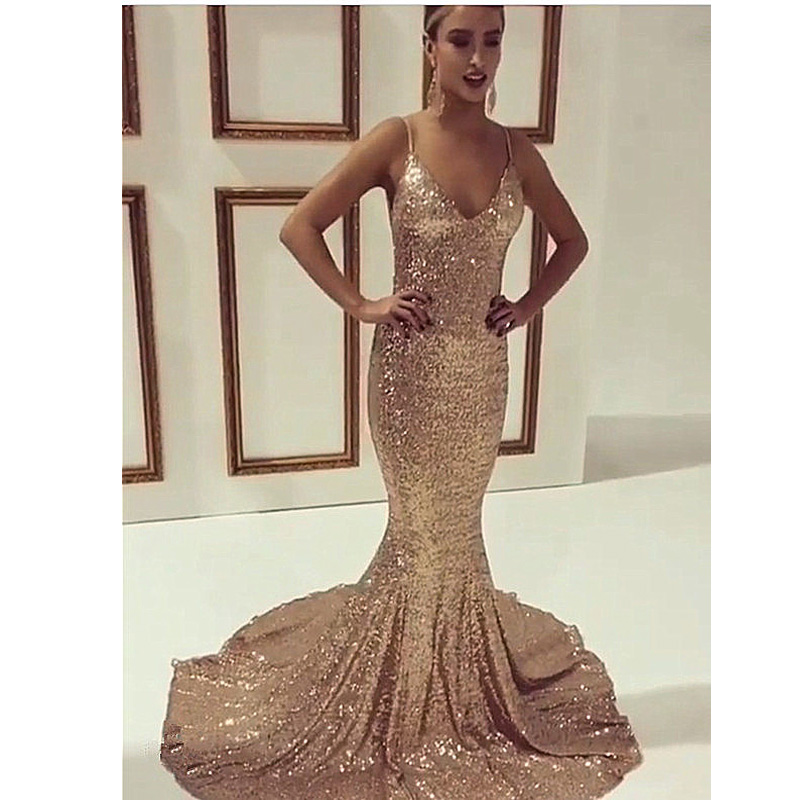 Popular Mermaid Gold Sequin Prom Dress-Buy Cheap Mermaid Gold ...