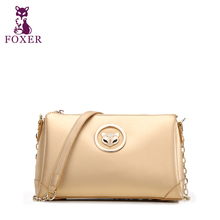FOXER Brand Girls Cow leather Crossbody long strap Bags Fashion Ladies small clutch bag with free shipping