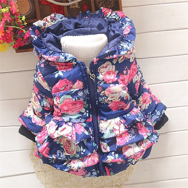 0a836578e BibiCola baby girls Floral winter jacket kids warm coat toddler ...