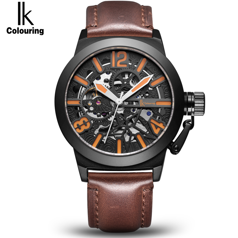 IK colouring Rose Gold Case Automatic Mechanical Watches Men Brand Luxury Genuine Leather Transparent Hollow Skeleton Watch ik colouring rose gold case luxury men s skeleton hollow automatic self wind analog water resistant mechanical wrist watch