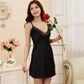 Mulheres sexy nightwear mini nightgowns tempatation v profundo straps saias Plus Size estilo verão 2016 pijamas de seda real hot 00
