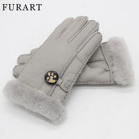 FURART New 2017 Brand Women S Gloves 100 Sheepskin Genuine Natural Wool Gloves Pure And Sheepskin