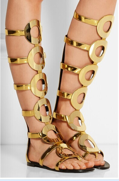 Bling golden circle round decorated cut-out knee high back zipper thong sandals for woman in summer big size 35-42 big round circle hollow out bracelet