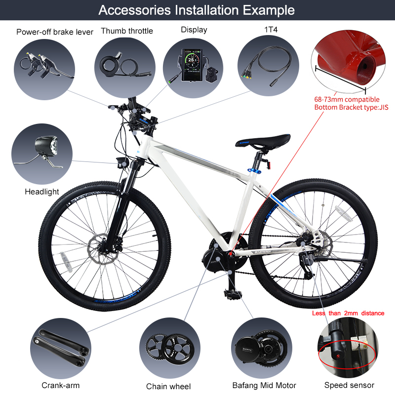 Excellent Bafang BBS02B 36V 500W Mid Drive Motor Bike Electric Bicycle Conversion Kits 8fun BBS02 44T/46T/48T/52T Central Engine 22