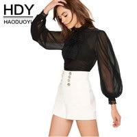 HDY Women Black Sheer Blouse Shirts Lantern Sleeve Bow Tie Lace Up Sexy Lady Shirts Bowknot