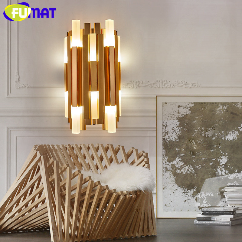 Nordic Modern Gold Wall Lamps Minimalist Creative Wall Light For Living Room Study Bedside Lamp Stairs Design Wall Sconce