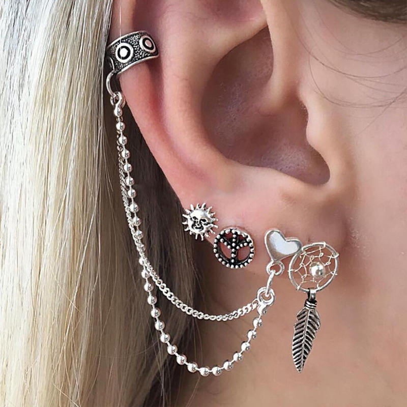 4 pcsSet Stud Earrings Set Antique Silver Color Sun Heart Leaves Hollow Round Earring Women Double Chain Ear Cuff Clip Jewelry