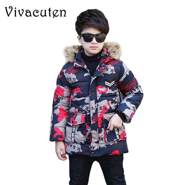 Teens Winter Warm Coat for Boys Thicken Long Outerwear Children Cotton Hooded Jacket Camouflage Fur Collar Parka Clothes ZF06