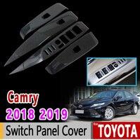 for Toyota Camry Daihatsu Altis XV70 2018 2019 Chrome Carbon Fiber Switch Panel Cover High Quality Accessories Car Sticker