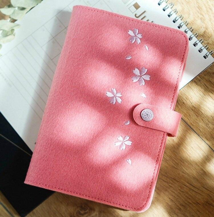 Image 2 - A5/6 Corea lindo fieltro planificador cuaderno suministros de papelería japonés Sakura diario libreta personal espiral anillo carpeta planificador-in Cuadernos from Suministros de oficina y escuela on AliExpress