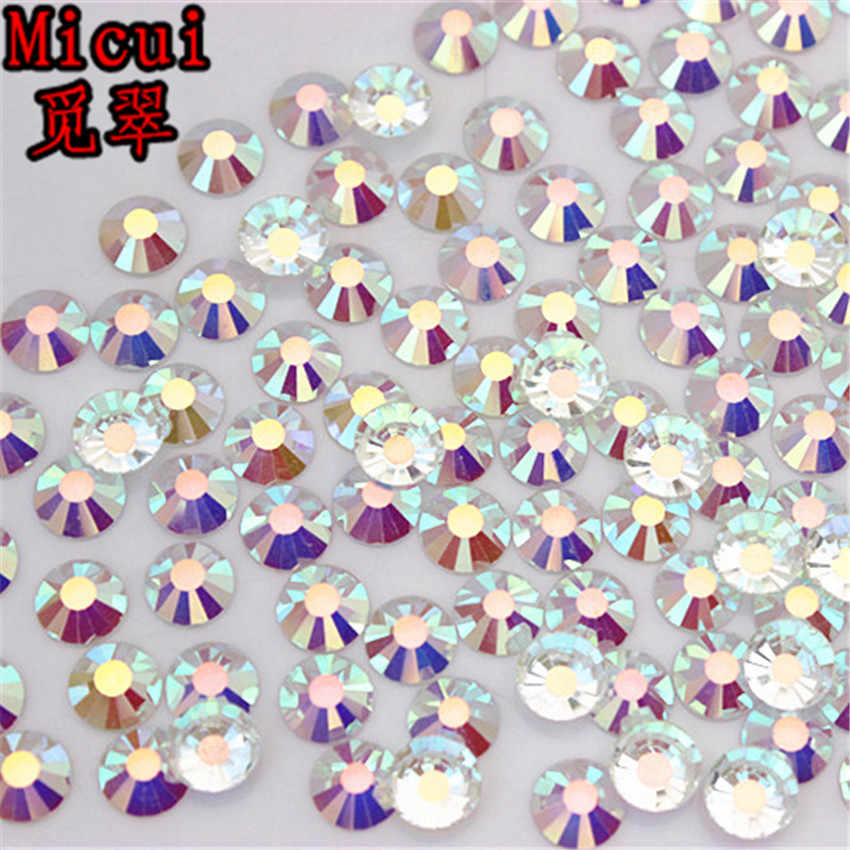 Micui SS3-SS30 AB Glitter Rhinestones Glass Crystal Flat Back Round Nail  Art Stones Non 80452ee9056d