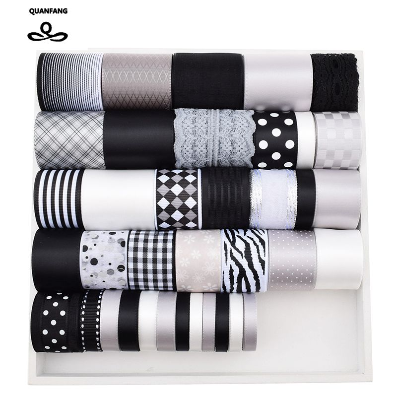 High quality 37 Design Mix Black&White&Gray Ribbon Set For Diy Handmade Craft Packing Hair Accessories Materials Package