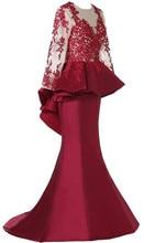 Eleganter Burgunder Langarm Abendkleider Kleider 2016 Vestito Da Sera Lungo Backless Mermaid Kleider für Prom