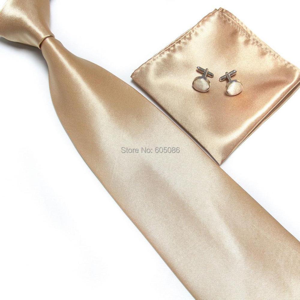 HOOYI 2019 Men's Neck Tie Set Champagne Necktie Cufflinks Hanky